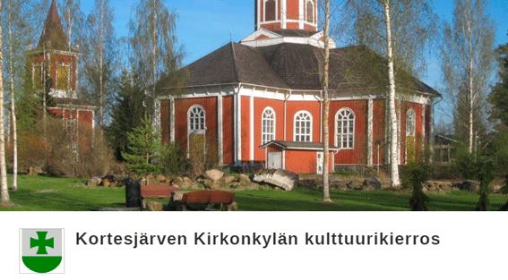 Kortesjärven kirkon kuva, linkki Citynomadi-reittiin