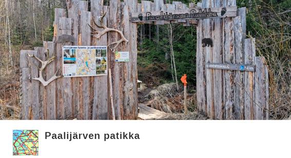 Kuva patikkareitin portista, linkki Paalijärven patikan citynomadireittiin